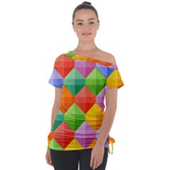 Background Colorful Geometric Triangle Rainbow Tie Up Tee by HermanTelo