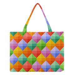 Background Colorful Geometric Triangle Rainbow Medium Tote Bag by HermanTelo