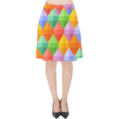 Background Colorful Geometric Triangle Rainbow Velvet High Waist Skirt by HermanTelo