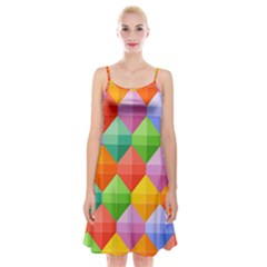 Background Colorful Geometric Triangle Rainbow Spaghetti Strap Velvet Dress by HermanTelo