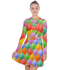 Background Colorful Geometric Triangle Rainbow Long Sleeve Panel Dress by HermanTelo