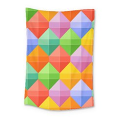 Background Colorful Geometric Triangle Rainbow Small Tapestry by HermanTelo