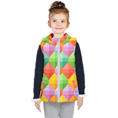 Background Colorful Geometric Triangle Rainbow Kids  Hooded Puffer Vest by HermanTelo