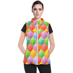 Background Colorful Geometric Triangle Rainbow Women s Puffer Vest by HermanTelo