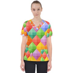 Background Colorful Geometric Triangle Rainbow Women s V-neck Scrub Top by HermanTelo