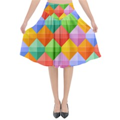 Background Colorful Geometric Triangle Rainbow Flared Midi Skirt by HermanTelo