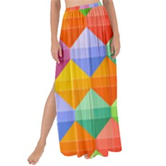 Background Colorful Geometric Triangle Rainbow Maxi Chiffon Tie-up Sarong by HermanTelo