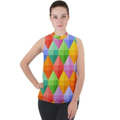 Background Colorful Geometric Triangle Rainbow Mock Neck Chiffon Sleeveless Top by HermanTelo