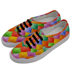 Background Colorful Geometric Triangle Rainbow Men s Classic Low Top Sneakers by HermanTelo