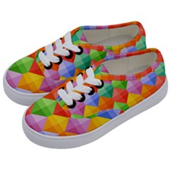 Background Colorful Geometric Triangle Rainbow Kids  Classic Low Top Sneakers by HermanTelo