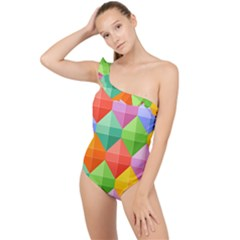 Background Colorful Geometric Triangle Rainbow Frilly One Shoulder Swimsuit by HermanTelo