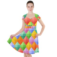 Background Colorful Geometric Triangle Rainbow Cap Sleeve Midi Dress by HermanTelo