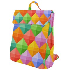 Background Colorful Geometric Triangle Rainbow Flap Top Backpack