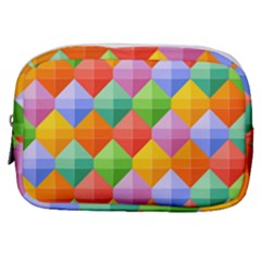 Background Colorful Geometric Triangle Rainbow Make Up Pouch (small) by HermanTelo
