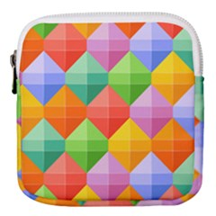 Background Colorful Geometric Triangle Rainbow Mini Square Pouch by HermanTelo