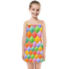 Background Colorful Geometric Triangle Rainbow Kids  Summer Sun Dress by HermanTelo