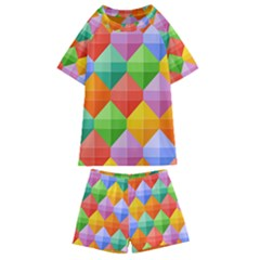 Background Colorful Geometric Triangle Rainbow Kids  Swim Tee And Shorts Set by HermanTelo
