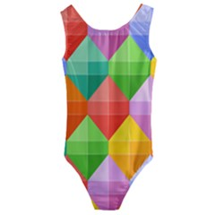 Background Colorful Geometric Triangle Rainbow Kids  Cut-out Back One Piece Swimsuit by HermanTelo