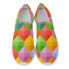 Background Colorful Geometric Triangle Rainbow Women s Slip On Sneakers by HermanTelo