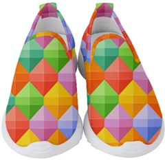 Background Colorful Geometric Triangle Rainbow Kids  Slip On Sneakers by HermanTelo