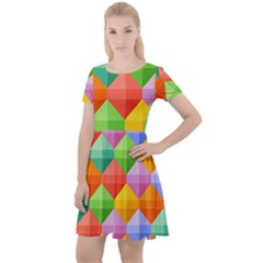 Background Colorful Geometric Triangle Rainbow Cap Sleeve Velour Dress