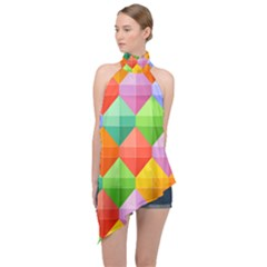Background Colorful Geometric Triangle Rainbow Halter Asymmetric Satin Top by HermanTelo