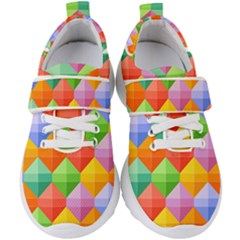 Background Colorful Geometric Triangle Rainbow Kids  Velcro Strap Shoes by HermanTelo
