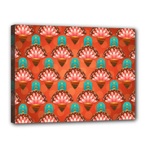 Background Floral Pattern Red Canvas 16  X 12  (stretched) by HermanTelo