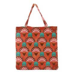Background Floral Pattern Red Grocery Tote Bag by HermanTelo