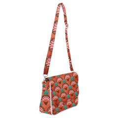 Background Floral Pattern Red Shoulder Bag With Back Zipper