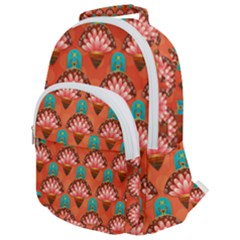 Background Floral Pattern Red Rounded Multi Pocket Backpack by HermanTelo
