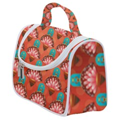 Background Floral Pattern Red Satchel Handbag