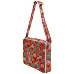Background Floral Pattern Red Cross Body Office Bag