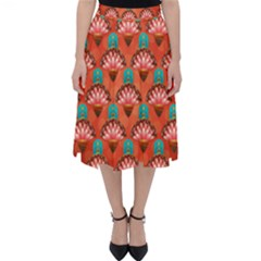 Background Floral Pattern Red Classic Midi Skirt by HermanTelo