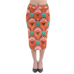 Background Floral Pattern Red Midi Pencil Skirt