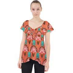 Background Floral Pattern Red Lace Front Dolly Top
