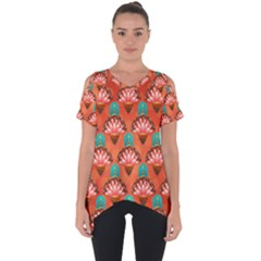 Background Floral Pattern Red Cut Out Side Drop Tee by HermanTelo