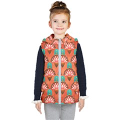 Background Floral Pattern Red Kids  Hooded Puffer Vest by HermanTelo