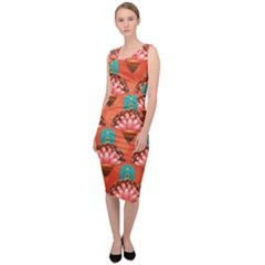 Background Floral Pattern Red Sleeveless Pencil Dress