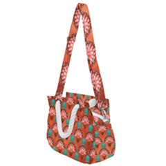 Background Floral Pattern Red Rope Handles Shoulder Strap Bag by HermanTelo