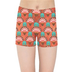 Background Floral Pattern Red Kids  Sports Shorts by HermanTelo