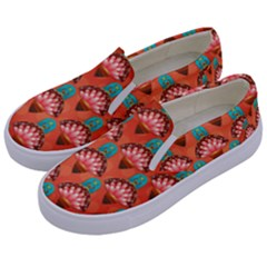 Background Floral Pattern Red Kids  Canvas Slip Ons by HermanTelo