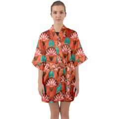 Background Floral Pattern Red Quarter Sleeve Kimono Robe by HermanTelo