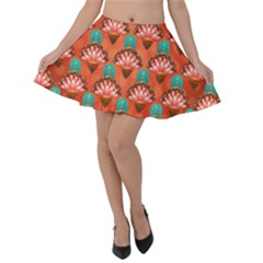 Background Floral Pattern Red Velvet Skater Skirt by HermanTelo
