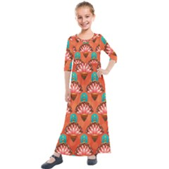 Background Floral Pattern Red Kids  Quarter Sleeve Maxi Dress