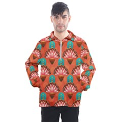 Background Floral Pattern Red Men s Half Zip Pullover by HermanTelo