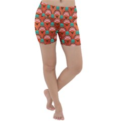 Background Floral Pattern Red Lightweight Velour Yoga Shorts by HermanTelo
