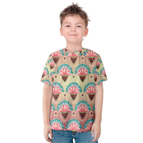 Background Floral Pattern Pink Kids  Cotton Tee by HermanTelo