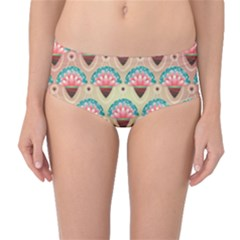 Background Floral Pattern Pink Mid Waist Bikini Bottoms by HermanTelo