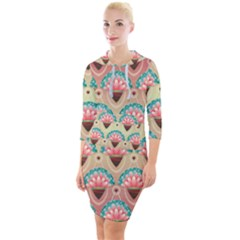 Background Floral Pattern Pink Quarter Sleeve Hood Bodycon Dress by HermanTelo
